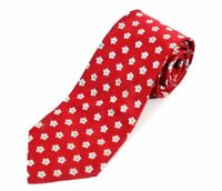 J CREW 100% Silk Classic Neck Tie Made in Italy Red White Flower Polka Dot