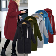New Women Long Sleeve Zip Up Hooded Hoodie Sweatershirt Jumper Cardigan Coat