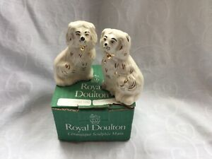 PAIR VINTAGE ROYAL DOULTON MINIATURE FLAT BACK/ MANTLE PIECE WALLY DOGS