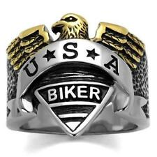 Mens biker ring eagle stainless steel 18kt gold no stone handmade usa new 2327