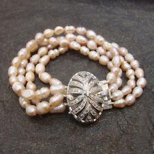 Lovely 925 Sterling Silver Handmade Beaded Pearl Or Diamond Bracelet