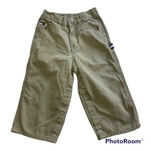 Tommy Hilfiger Boys 18-24M Carpenter Pants Khaki Hammer Loop Preppy Logo Beige