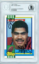 Junior Seau Autographed 1990 Topps Rookie Card #381 Chargers Beckett 10540650
