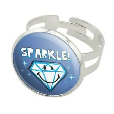 Sparkle Diamond Smiley Face Licensed Silver Plated Adjustable Novelty Ring