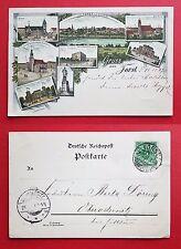 Litho AK FORST 1897 Post, Reichsbank, Gymnasium, Bismarck Denkmal     ( 20919
