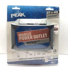 800 Watt (1600W peak) Inverter Mobile Power Outlet 2x 120V AC, USB (5V/2.1A)