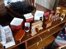 Vintage ancien en bois maison de poupées meubles canapé lit armoire coiffeuse etc