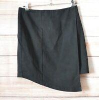 Viktoria & Woods Pencil Skirt Size 1 Small Black Layered Wrap Front Cotton