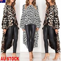 Women Leopard Print Irregular High Split Crop Tops Long Maxi Shirt Dress Blouse