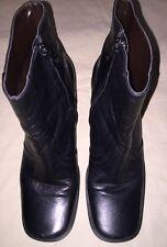 """Etienne Aigner  Black Lthr Ankle Boots Sq.Toe Heels 1.5"""" Womens Sz 7.5 M 7 1/2"""