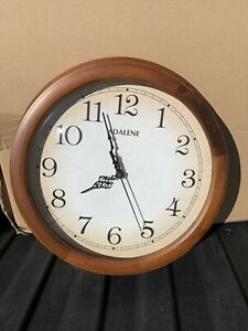 Adalene 14 Inch Wood Frame Decorative Wall Clock Quiet Quartz Battery Operated