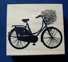 Bicycle with flowers rubber stamp WM P26