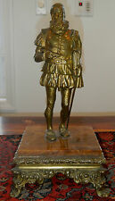 19TH CENTURY BRONZE MOUNTED ON MARBLE BASE OF PEN AND SWORD POSSIBLY SHAKESPEARE