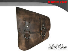 La Rosa Harley Softail Rigid Rustic Brown Leather Left Swing Arm Saddle Bag