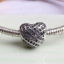 New love CZ S925 silver charm pendant bead For European bracelet chain bangle