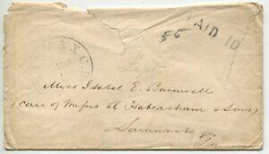 FAIRFAX CH VA SEP 6 1861 PAID 10 DT IV on cover to Isabell Barnwell Savannah GA
