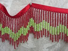 Red & Lime Green All Glass Beaded Fringe Trim ~ Sold BTY ~ Lampshades Costumes