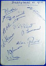 DERBYSHIRE 1950 – ORIGINAL CRICKET AUTOGRAPHED ALBUM PAGE
