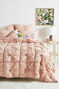 New Anthropologie Lazybones Organic Cotton Rosette Quilt Pink Queen