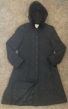 Charles Klein Women's 16P Long 100% Wool Gray Coat Genuine Fur Trimmed Hood