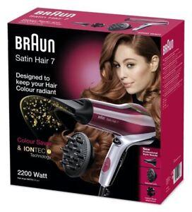 Braun Satin Cheveux 7 HD-770 Séche à Colorés Fonction Ionique Couleur Rouge