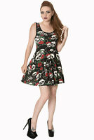 Women's Black Gothic Punk Emo Rockabilly Skull Roses Jersey Dress BANNED Apparel