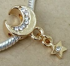 Light Rose Gold Plated Crystal Crescent Moon Dangle CZ Star European Bead Charm