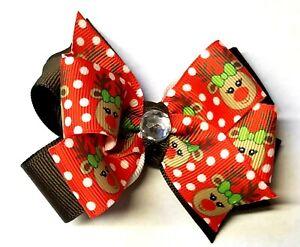 Christmas REINDEER 2 Layer Handmade Hair Bow with Non Slip Alligator Clip