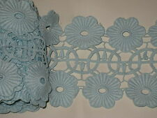 "2 yards in 5"" width light blue aqua clr high end heavy crochet poly cotton trim"