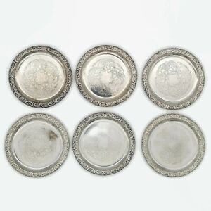 Vintage Silver Plated Coasters A-B Segerstrom & Svensson Made in Sweden Set of 6