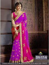 Purple Pink Indian Bollywood Designer Georgette Saree Sequin Sari Party Wear Top