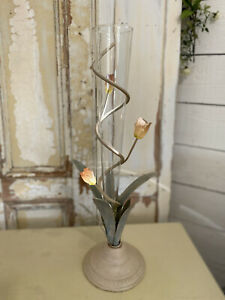 """VINTAGE FRENCH Deco Style TOLEWARE METAL SPIRAL  Roses Glass Flower VASE 20.5"""""""