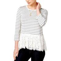 Maison Jules NWT Top Womens Sz Large Gray Striped Lace Peplum Hem Stretch Tunic