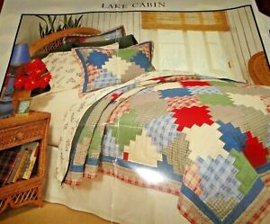 FAVORITE THING LAKE CABIN QUILT HAND PIECED PATCHWORK KING/CALIFORNIA KING QUILT