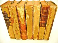 Lot 7 Leather Bound Books Vintage 1927-1929 Swedish Decor Shabby Chic Props