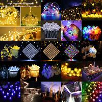 LED Solar Cherry String Light Fairy Outdoor Garden Decor Merry Xmas Party Lamp
