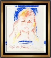 LeRoy Neiman Original Pastel Painting Playboy Playmate Rhonda Signed Framed Art