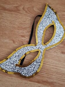 Silver gold glitter sequin Fancy Dress Eye Mask Masquerade Party Ball Hen Night
