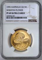 1995 $150 Gold Proof Floral Emblems of Australia Waratah Flower NGC PF69 UCAM
