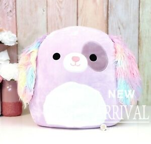 """Squishmallow 16"""" Inch Large Barb the Purple Puppy Dog W/Tie Dye Ears NEW HTF LTE"""