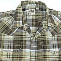 ELY Cattleman Pearl Snap Mens 2XL Western Shirt Cowboy Rodeo Wrinkle Resistant