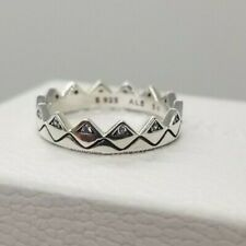 NEW Authentic PANDORA Silver Exotic Tribal Crown 198033 Stacking Ring pouch 54/7