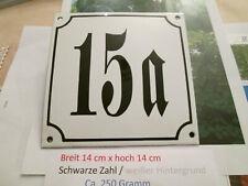 Hausnummer Emaille Nr. 15a  schwarze Zahl auf weißem Hintergrund 14cm x 14cm