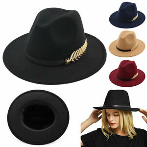Women Ladies Vintage Large Felt Trilby Fedora Jazz Wide Brim Hat Cap Gangster