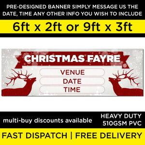 Christmas fayre fair banner pre-designed xmas pvc 510gs outdoor heavy duty NEW
