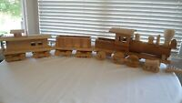VINTAGE SOLID WOOD WOODEN TOY TRAIN Handcrafted Unfinished detailed and Heavy