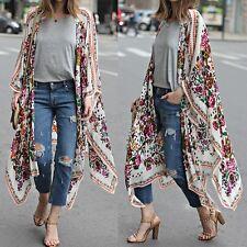 Women Boho Beach Loose Floral Print Long Sleeve Casual Cardigans Maxi Tops Shirt