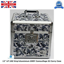 "2 X NEO Aluminum GREY Camouflage Storage DJ Case for 100 Vinyl LP 12"" Records HQ"