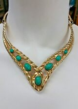 VINTAGE CUSTOM JEWELRY 18K YELLOW GOLD PLATED TURQUOISE COLOR BLUE STONE