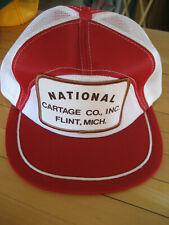 Vtg National Cartage Flint MI Trucker Snapback Cap Hat Mesh Foam Red/White EUC